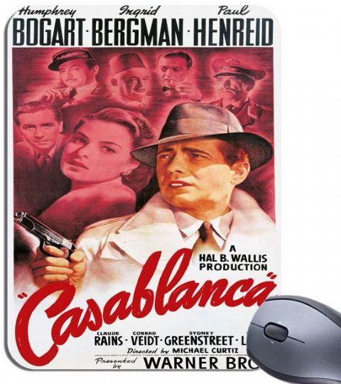 Casablanca Film Poster Mouse Mat. High Quality Vintage Bogart Movie Mouse Pad